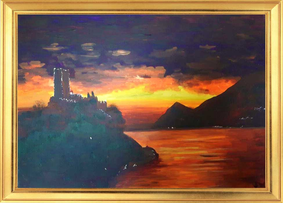 Sunset on Lake Garda by Sinead Wyse, Greystones Art Group